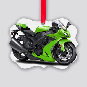 Ninja Green Bike Picture Ornament