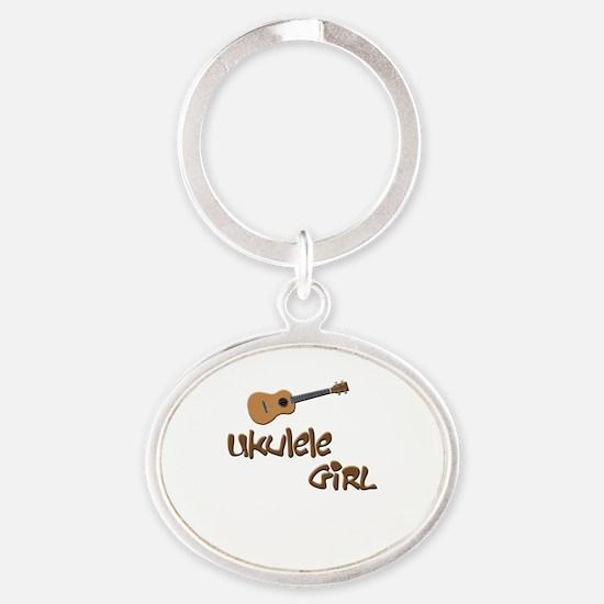 ukulele girls Oval Keychain