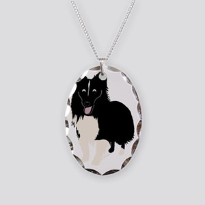 CartoonSheltie1 Necklace Oval Charm