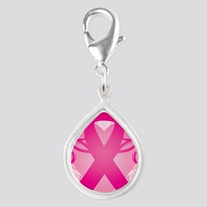443-iPhone-Pink Ribbon Silver Teardrop Charm