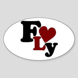 Fly (Heart) Oval Sticker