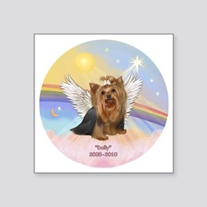 """ORN-Clouds=Yorkie DOLLY Square Sticker 3"""" x 3"""""""