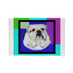 Lovely Bulldog Head Rectangle Magnet (10 pack)