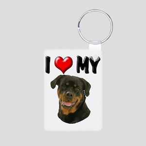 I Love My Rottweiler Aluminum Photo Keychain