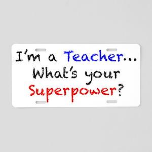 teacherpower Aluminum License Plate
