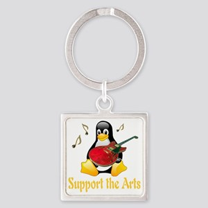 penguin_support_the_arts_transpare Square Keychain