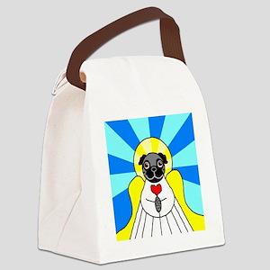ChristmasAngelBlack Canvas Lunch Bag
