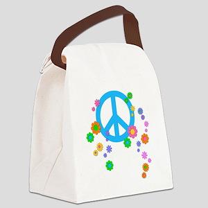 peace08-blk Canvas Lunch Bag
