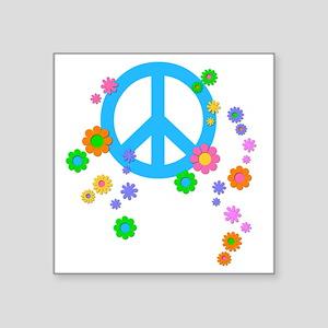 """peace08-blk Square Sticker 3"""" x 3"""""""