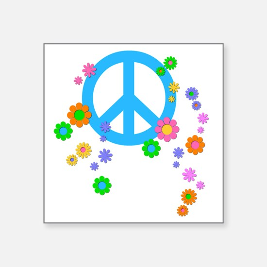 "peace08-blk Square Sticker 3"" x 3"""
