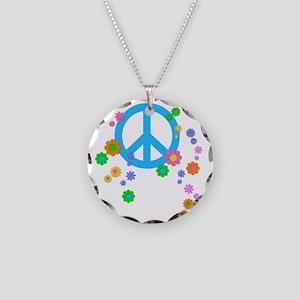 peace08-blk Necklace Circle Charm