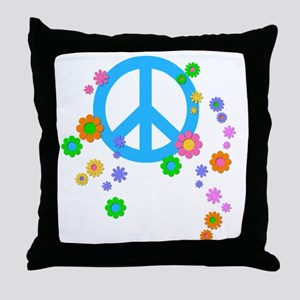 peace08-blk Throw Pillow