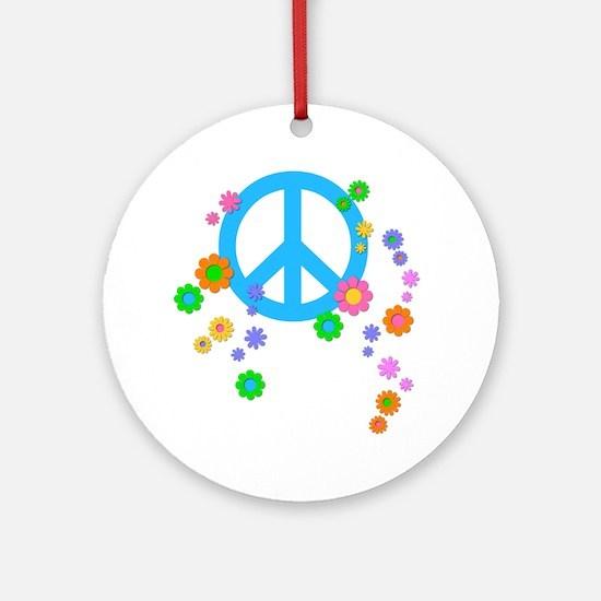 peace08-blk Round Ornament