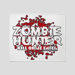 Zombie-Hunter-blk Throw Blanket