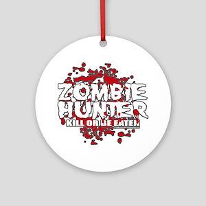 Zombie-Hunter-blk Round Ornament