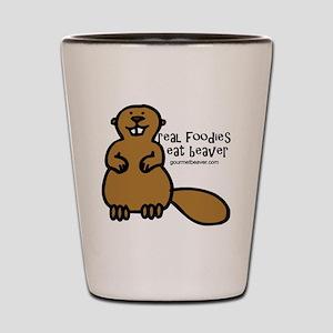 real foodies eat beaver copy Shot Glass