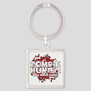 Zombie-Hunter-blk Square Keychain