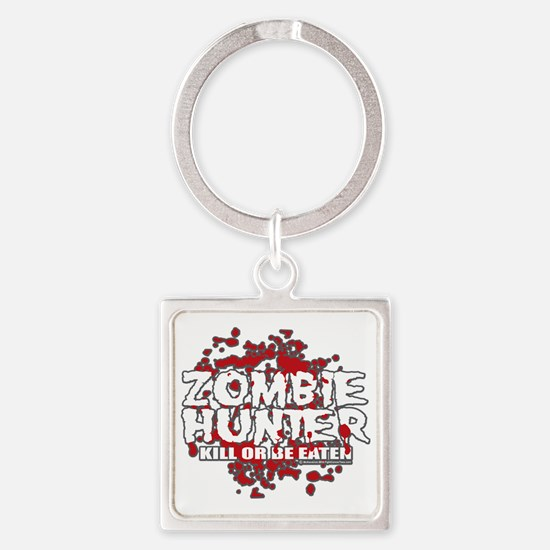 Zombie-Hunter-blk Square Keychain