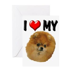 Pomeranian Christmas Greeting Cards Cafepress