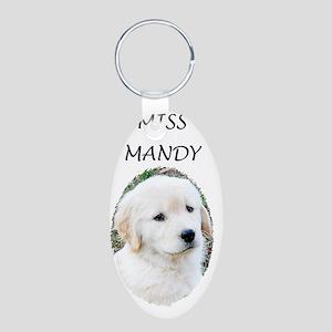 Golden Retriever Puppy 3G i Aluminum Oval Keychain