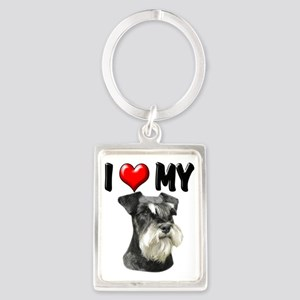 I Love My Miniature Schnauzer Portrait Keychain