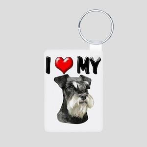 I Love My Miniature Schnau Aluminum Photo Keychain
