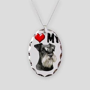 I Love My Miniature Schnauzer Necklace Oval Charm