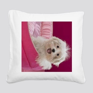 pink pup ipad Square Canvas Pillow
