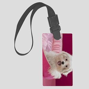 pink pup ipad Large Luggage Tag
