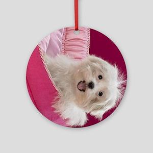 pink pup ipad Round Ornament