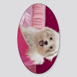 pink pup ipad Sticker (Oval)