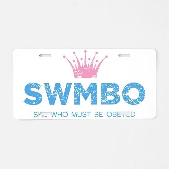 SWMBO_BLUE Aluminum License Plate