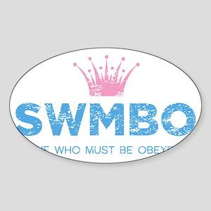 SWMBO_BLUE Sticker (Oval)