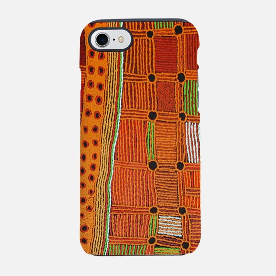 Australian Aboriginal Art in Orange Red iPhone 7 T
