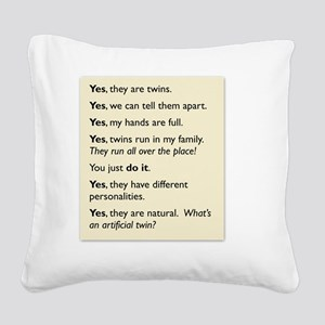 twin tee 2010 copy Square Canvas Pillow