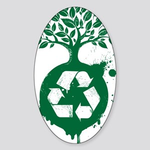 green recycle Sticker (Oval)