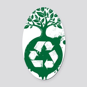 green recycle Oval Car Magnet