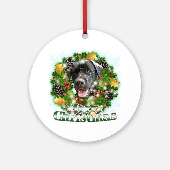 Merry Christmas Black Lab Round Ornament