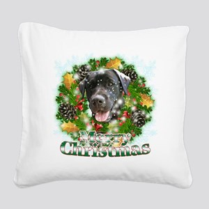 Merry Christmas Black Lab Square Canvas Pillow