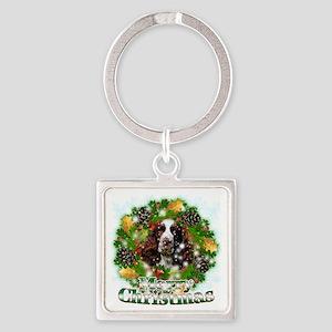 Merry Christmas Springer Spaniel Square Keychain