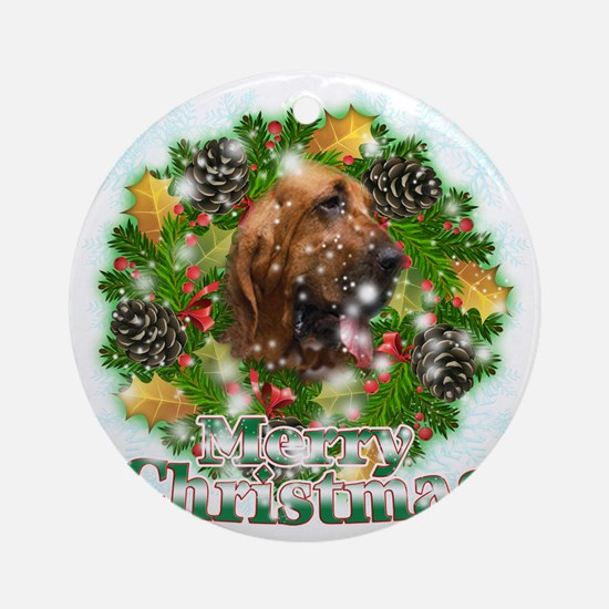 Merry Christmas Bloodhound Round Ornament