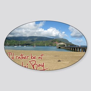 CalendarHanaleiBay Sticker (Oval)