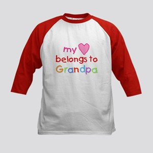 My Heart Belongs to Grandpa (A) Kids Baseball Jers