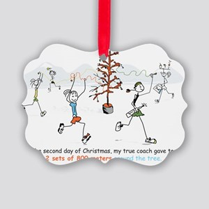 runners_around_christmas_tree1 Picture Ornament