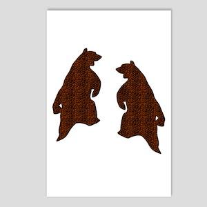 DARK BROWN TEXTURED DANCING BEARS Postcards (Packa