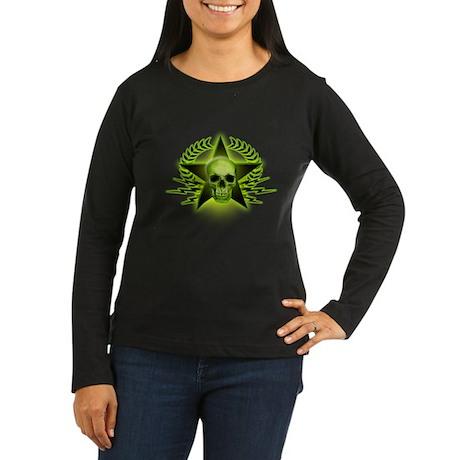 Green Skull, Star, Wreath Women's Long Sleeve Dark