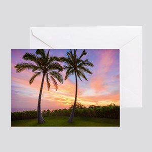 Hawaiian Sunset With Palm Trees Greeting Card