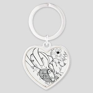 Snowmobille Cat Dark Lines copyrigh Heart Keychain