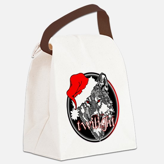 twilight Christmas wolf 2 copy Canvas Lunch Bag