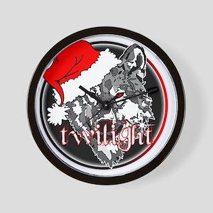 twilight Christmas wolf 2 copy Wall Clock